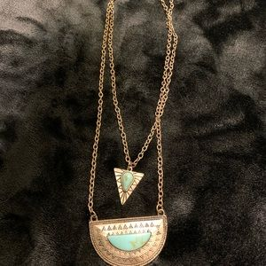 Layered gold and turquoise necklace